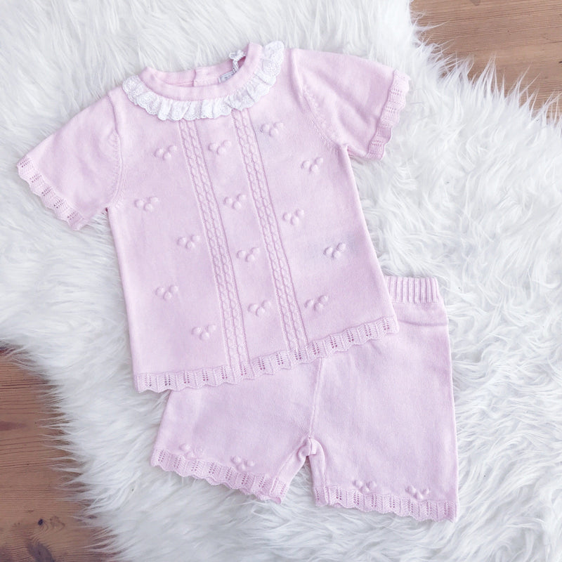 Zip Zap Pink Knitted Top and Shorts | Millie and John