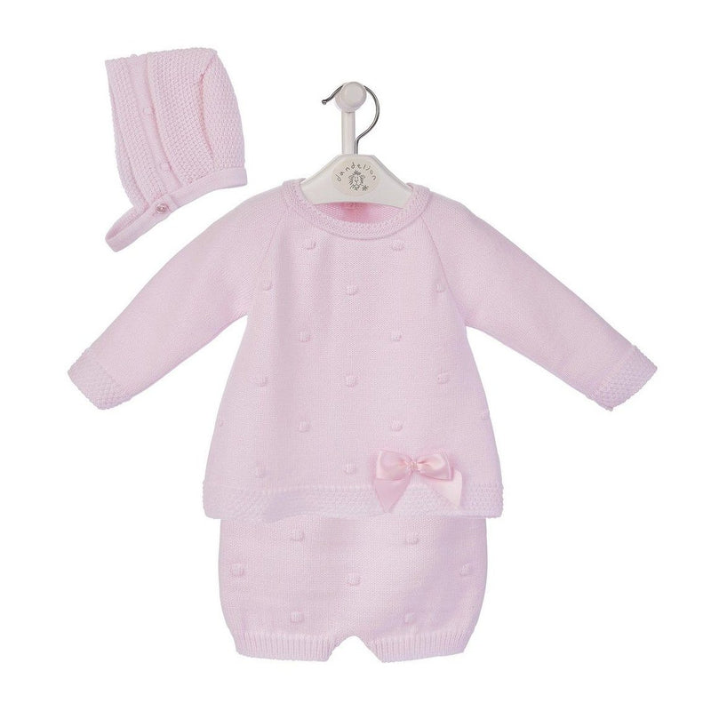 Dandelion Pink Knitted Top, Shorts & Bonnet | Millie and John