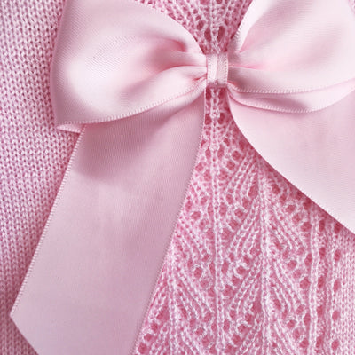 Little Nosh Pink Lace Knit Bow Dress & Bonnet | Millie and John