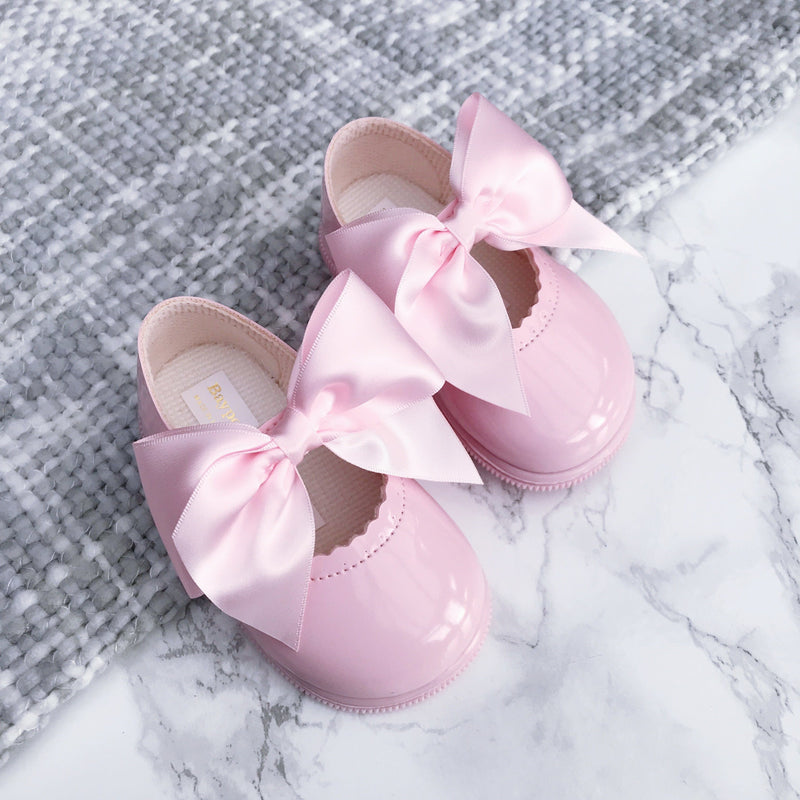 Baypods Pink Large Bow Hard Sole Shoes | Millie and John