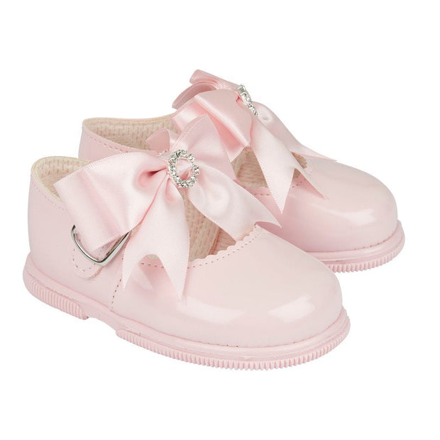 Baypods Pink Large Diamanté Bow Hard Sole Shoes | Millie and John