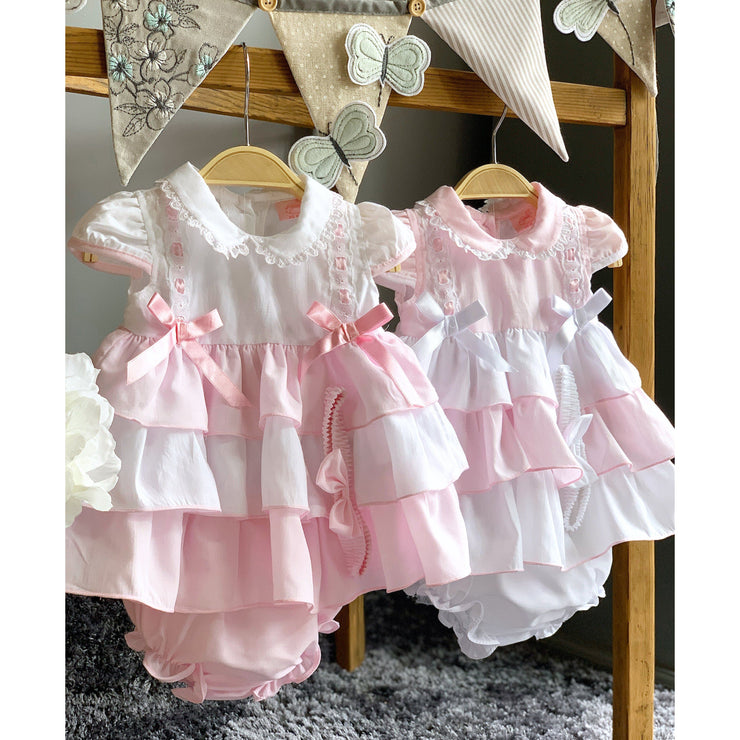 Rock-a-Bye Baby Pink Layered Dress, Knickers & Headband | Millie and John