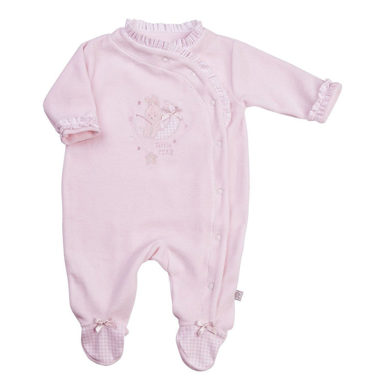 "Dandelion Pink ""Little Star"" Bunny Frilled Velour Sleepsuit 
