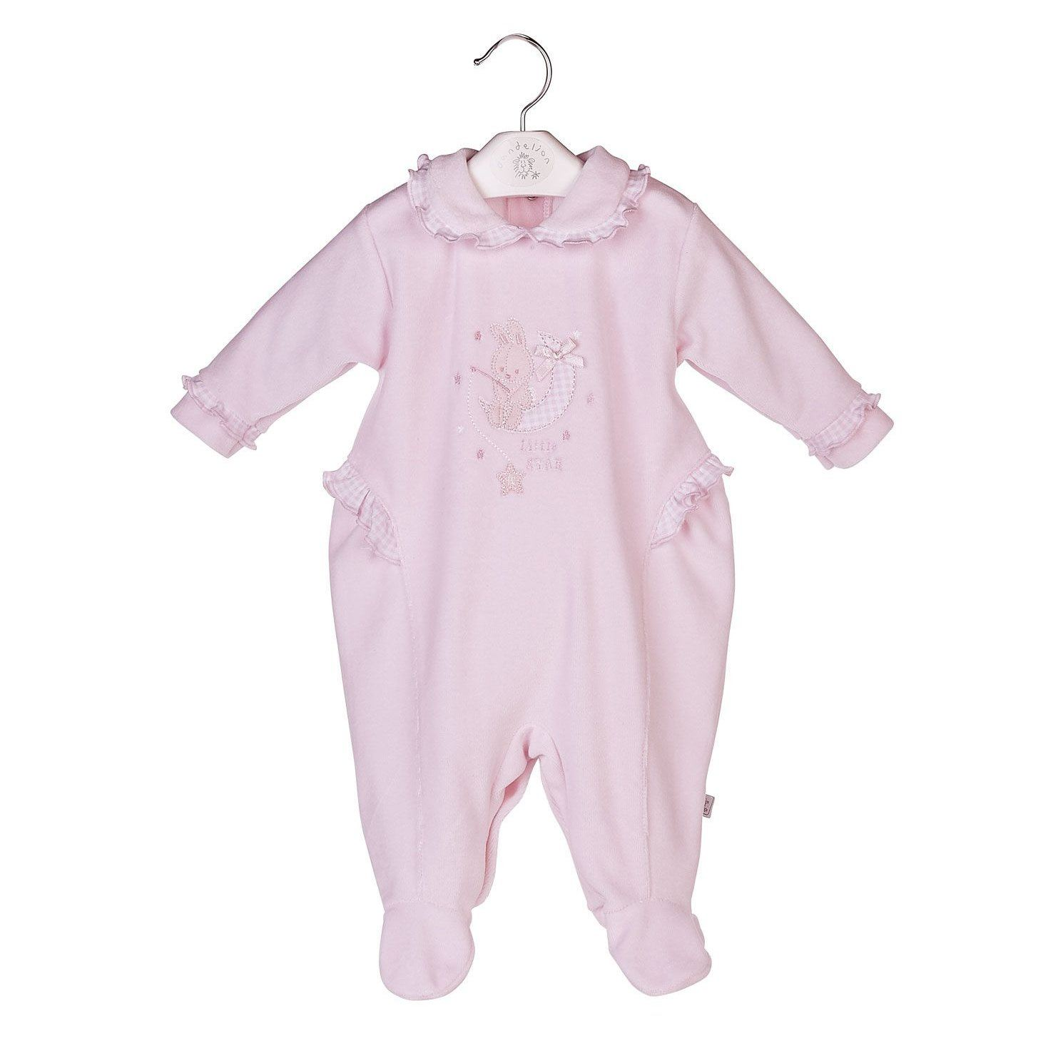 "Dandelion Pink ""Little Star"" Bunny Velour Sleepsuit 