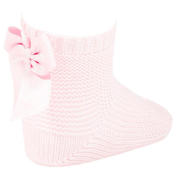 Condor Pink Moss Stitch Bow Ankle Socks | Millie and John