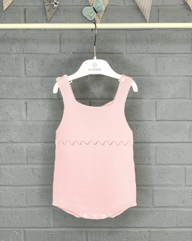 Wedoble Pink Moss Stitch Dungaree Romper | Millie and John