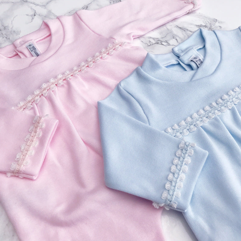 Calamaro Pink or Blue Braid Trim All-in-One | Millie and John