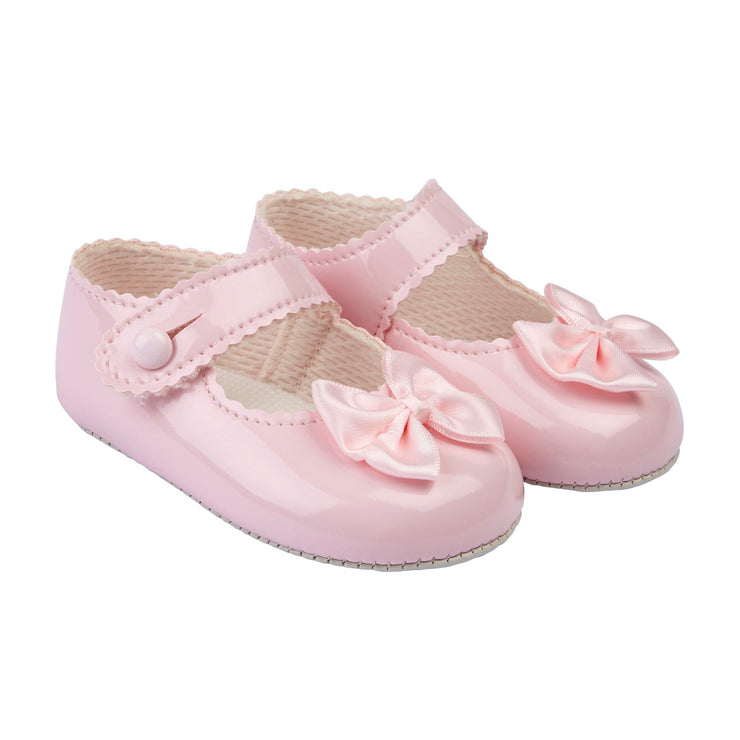 Baypods Pink Patent Bow Soft Sole Shoes | Millie and John