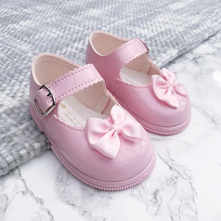 Baypods Pink Patent Hard Sole Bow Shoes | Millie and John