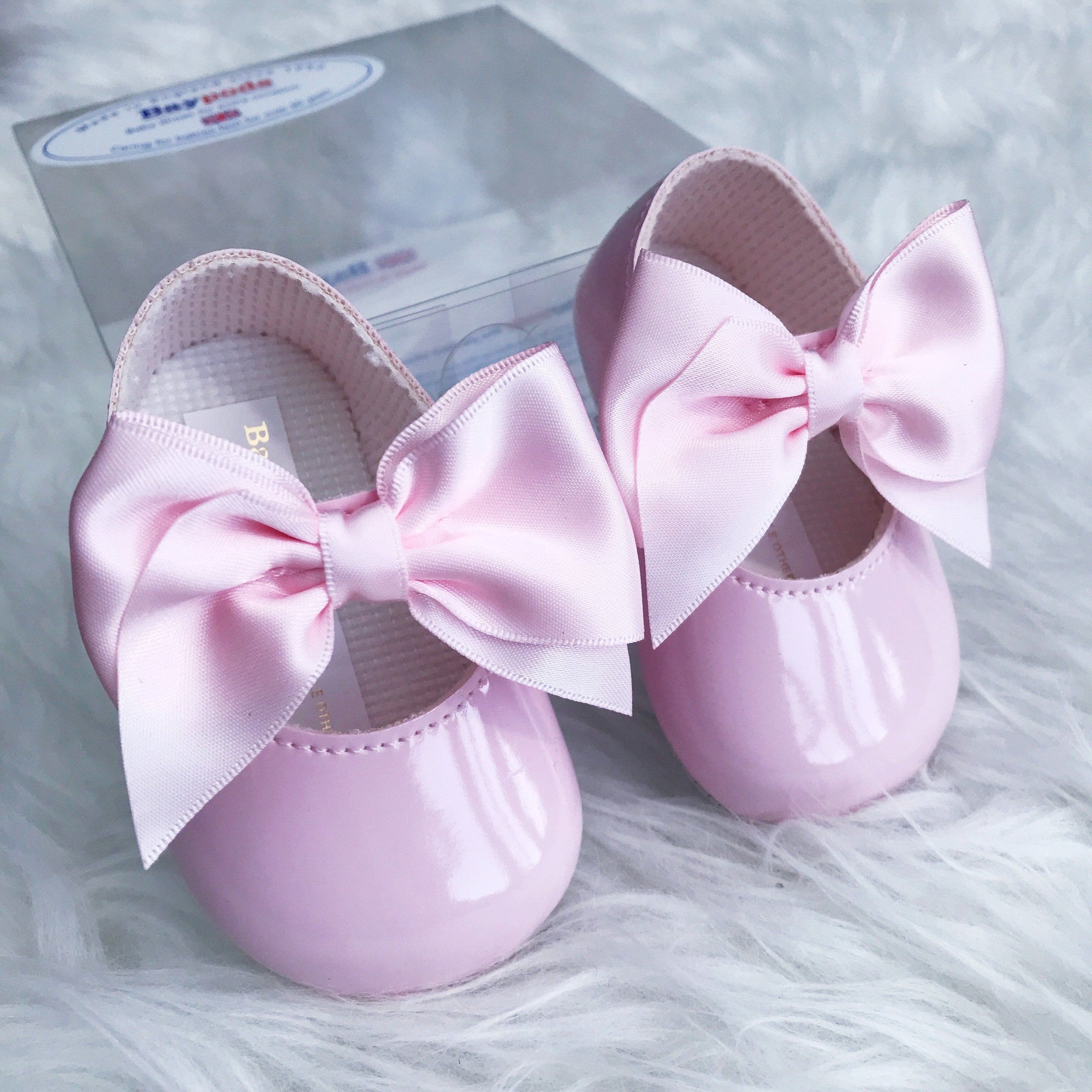 Baypods Pink Patent Large Bow Soft Sole Shoes | Millie and John