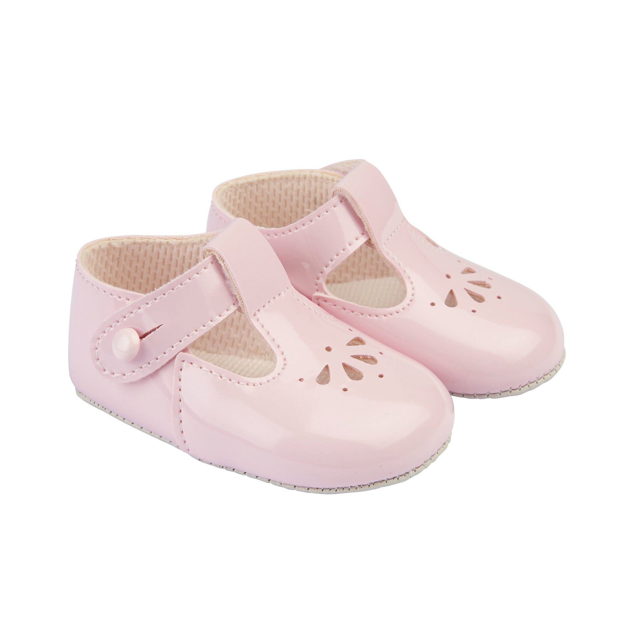 Baypods Pink Patent Petal Punch T-Bar Shoes | Millie and John