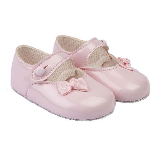 Baypods Pink Patent Rose Bow Soft Sole Shoes | Millie and John