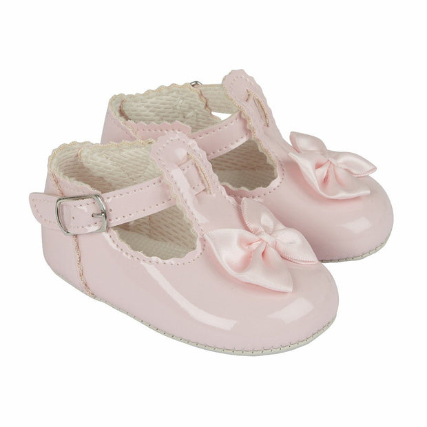 Baypods Pink Patent T-Bar Bow Soft Sole Shoes | Millie and John