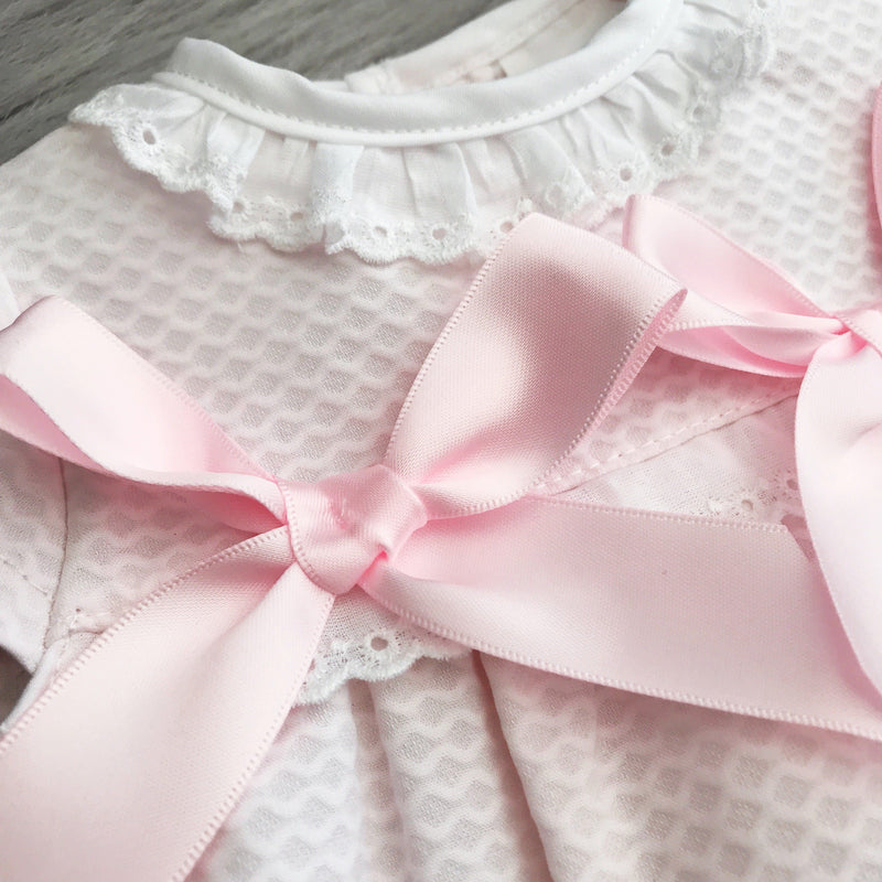 Pink Piqué Double Bow Dress & Knickers