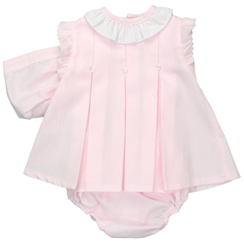 Baby-Ferr Pink Pleated Dress, Bonnet & Knickers | Millie and John