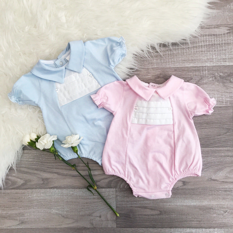 Little Nosh Pink Pleated Romper | Millie and John