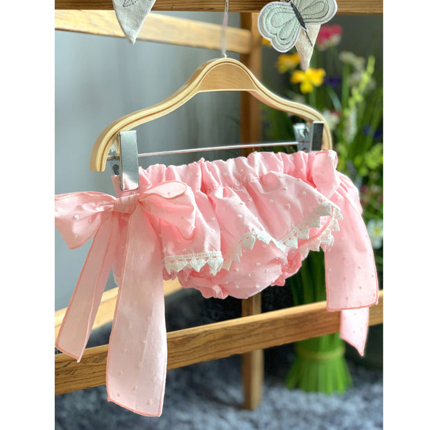 Phi Pink Plumeti Dot Bow Bloomers | Millie and John