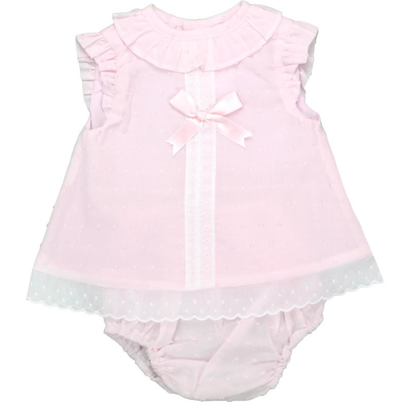 Baby-Ferr Pink Plumeti Dot Dress & Knickers | Millie and John