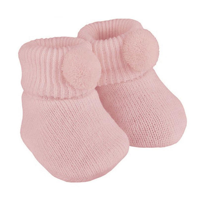 Soft Touch Pink Pom Pom Knitted Booties | Millie and John