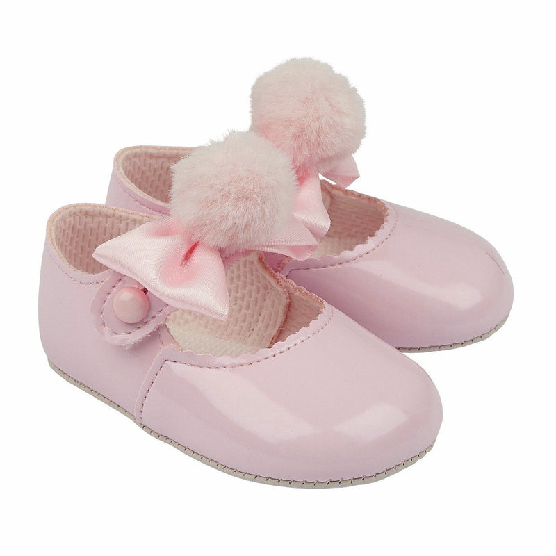 Pink Pom Pom Soft Sole Shoes