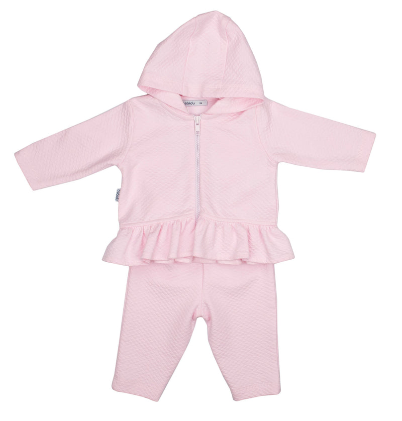 Babidu Pink Quilted Cotton Tracksuit | Millie and John