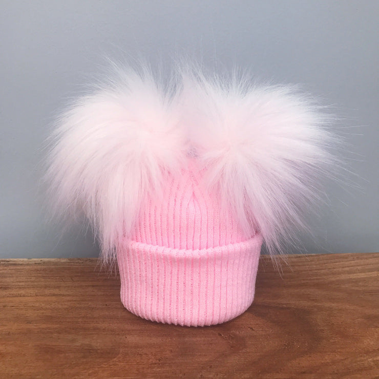 Millie and John Pink Ribbed Double Pom Pom Hat | Millie and John