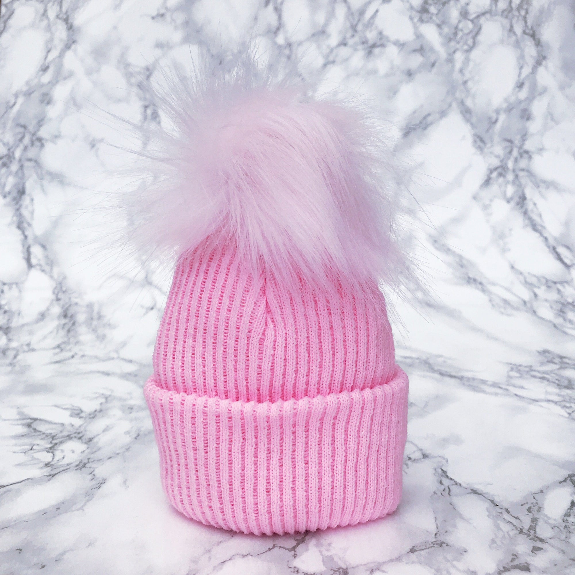 Millie and John Pink Ribbed Faux Fur Pom Pom Hat | Millie and John