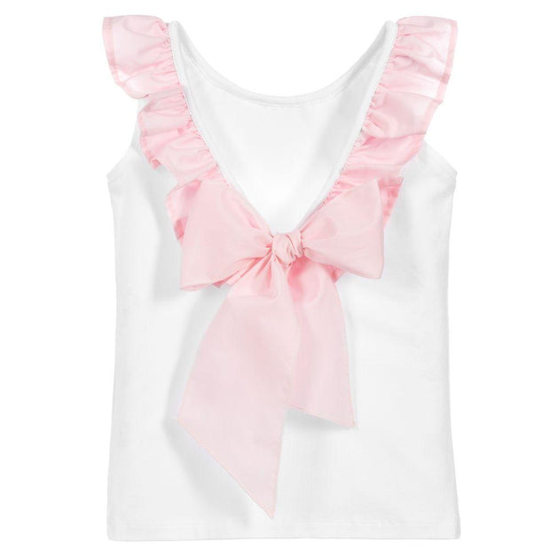 Phi Pink Ruffle Bow Vest | Millie and John