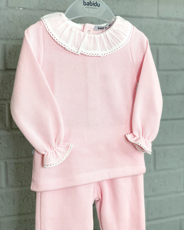 Babidu Pink Ruffle Collar Knit Tracksuit | Millie and John
