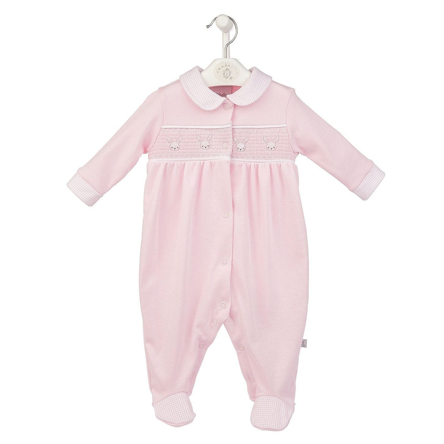 Dandelion Pink Smocked Bunnies Sleepsuit | Millie and John