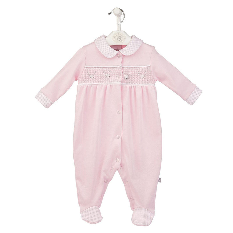 Pink Smocked Bunnies Sleepsuit