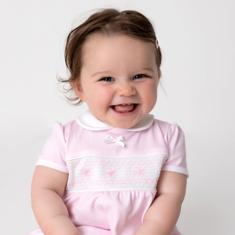 Dandelion Pink Smocked Butterfly Romper | Millie and John