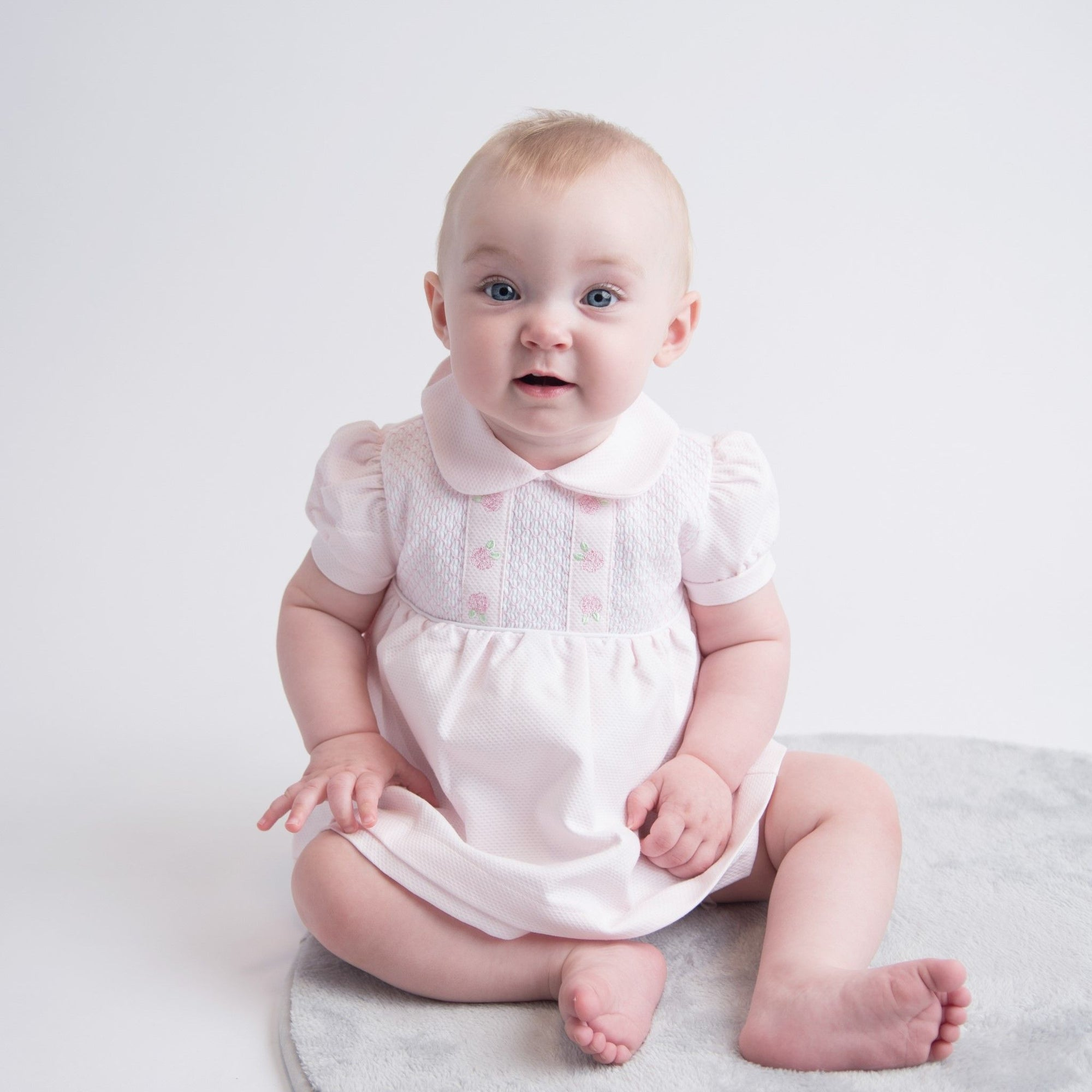 Dandelion Pink Smocked Rosebud Dress | Millie and John