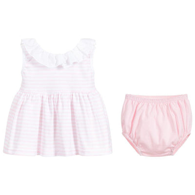 Babidu Pink Striped Scoop Back Dress & Knickers | Millie and John