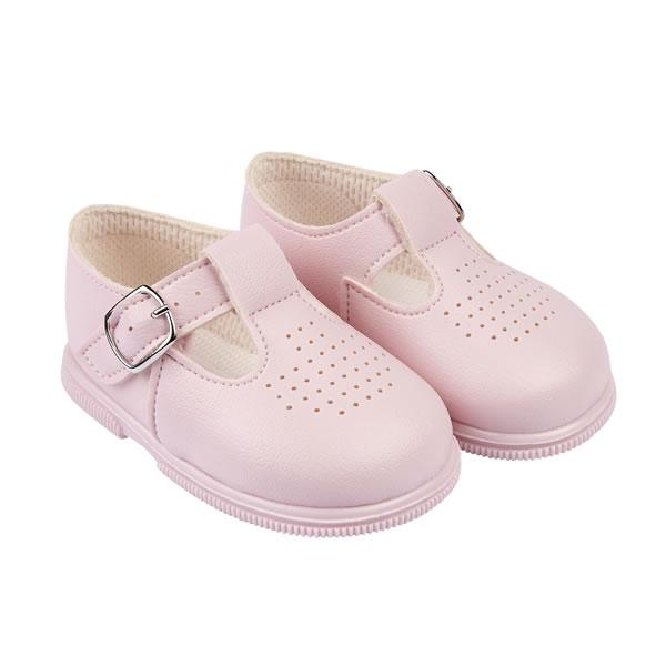 Baypods Pink T-Bar Hard Sole Shoes | Millie and John