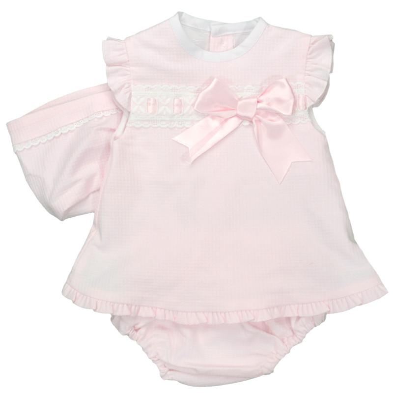 Baby-Ferr Pink Textured Bow Dress, Knickers & Bonnet | Millie and John