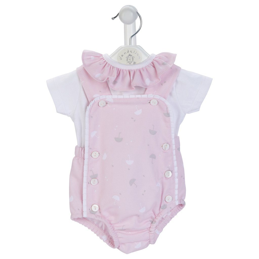 Dandelion Pink Umbrella Print Dungaree Romper Set | Millie and John