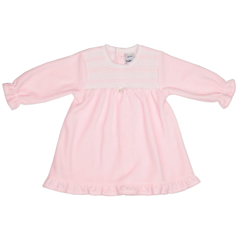 Babidu Pink Velour Smocked Dress | Millie and John
