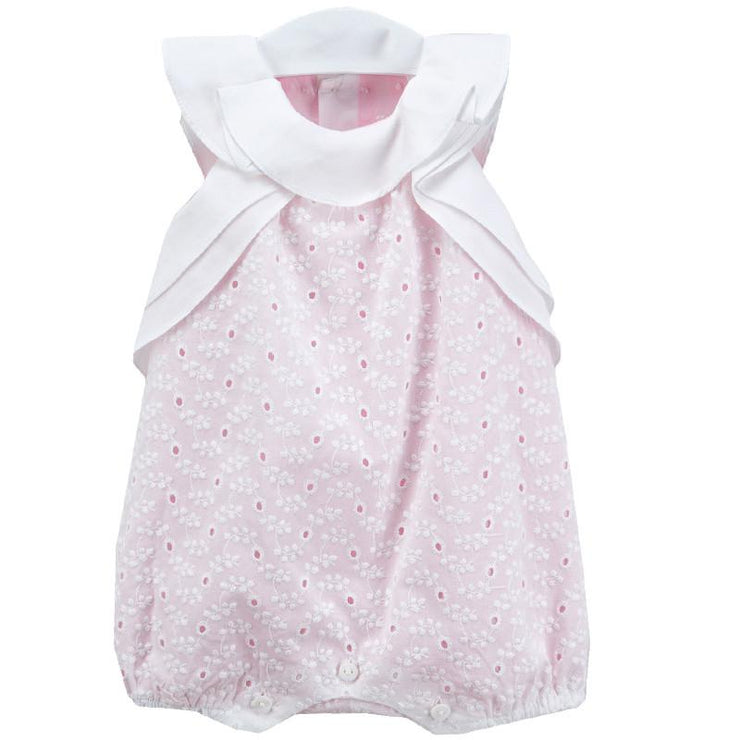 La Cigüeña Pink & White Broderie Anglaise Romper | Millie and John
