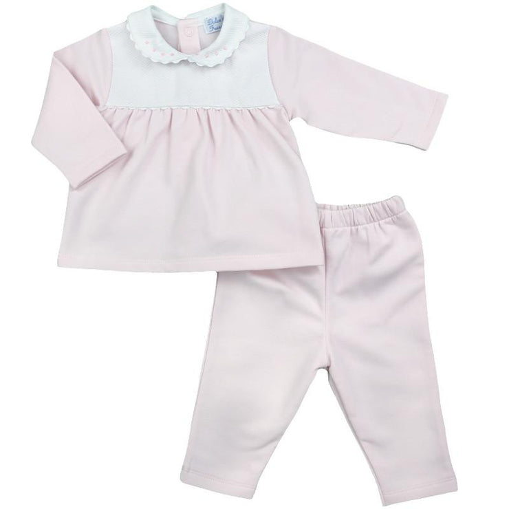 Dulce de Fresa Pink & White Cotton Tracksuit | Millie and John