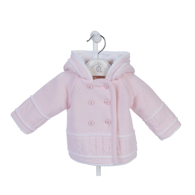 Dandelion Pink & White Knitted Hooded Jacket | Millie and John