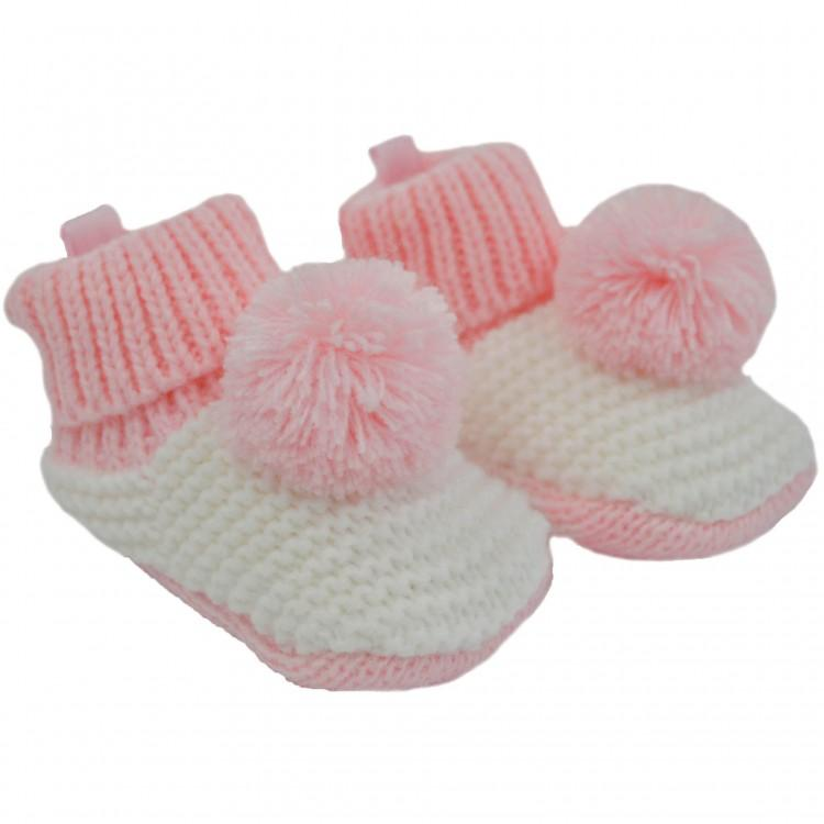 Soft Touch Pink & White Knitted Pom Pom Bootees | Millie and John