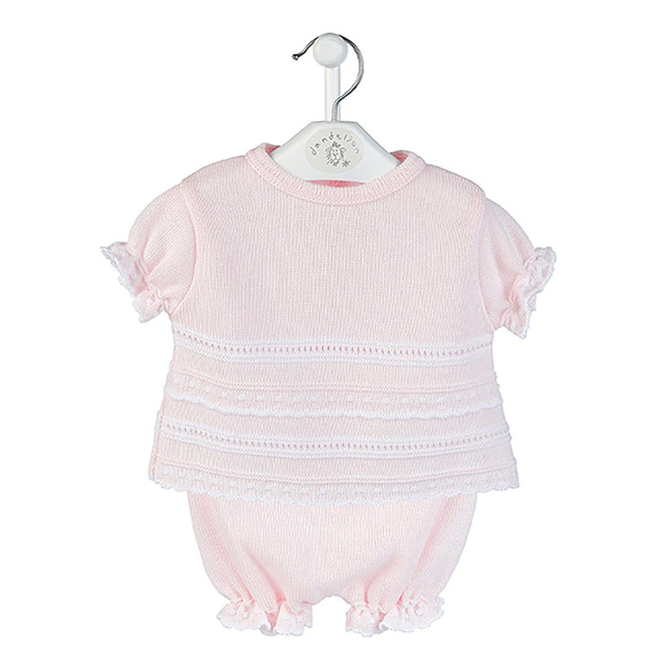Dandelion Pink & White Pointelle Top and Bloomers | Millie and John