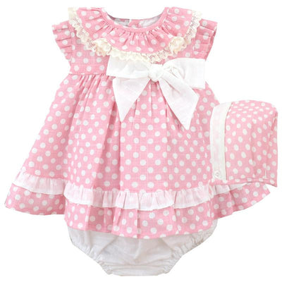 Baby-Ferr Pink & White Polka Dot Dress, Bonnet and Knickers | Millie and John