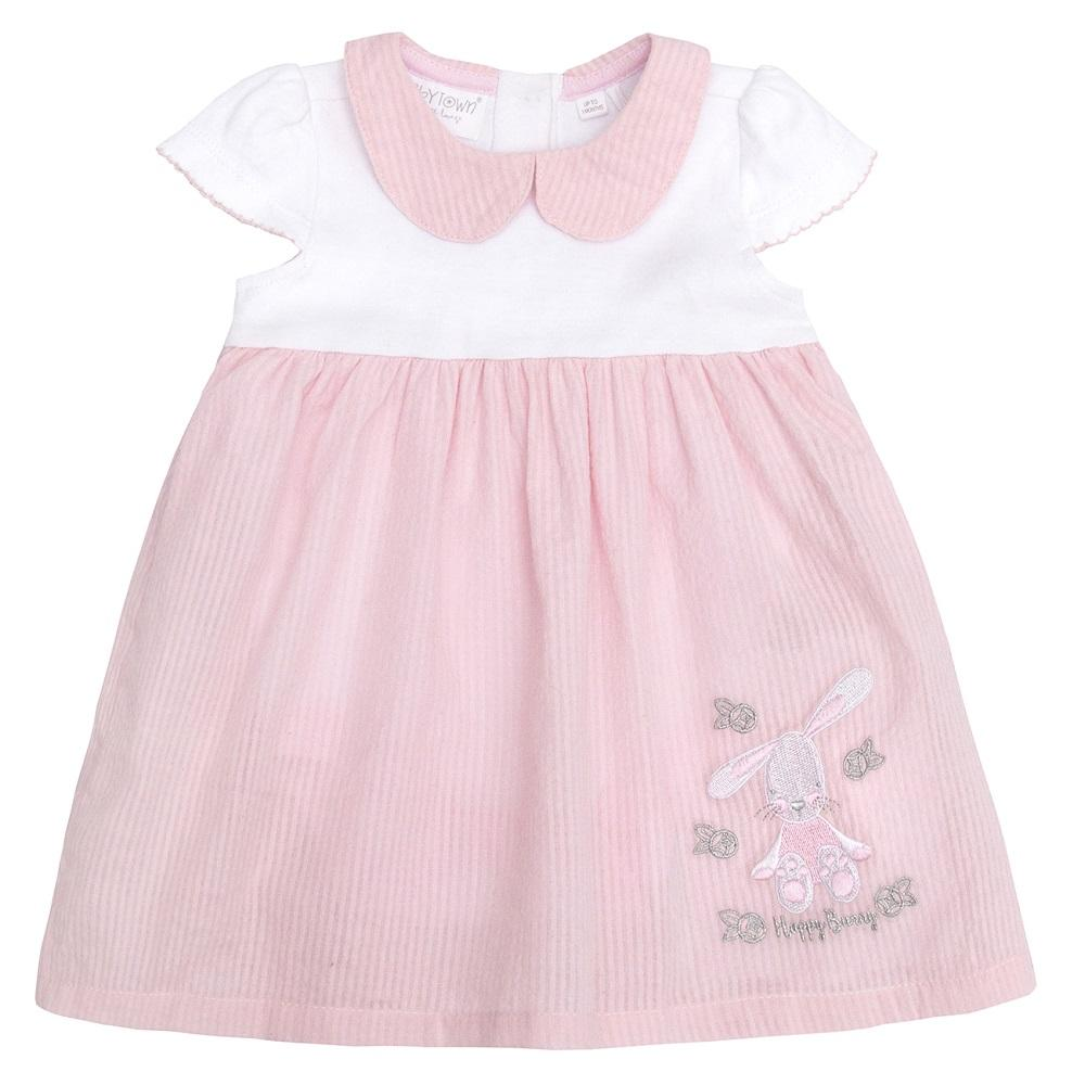 Baby Town Pink & White Seersucker Bunny Bodysuit Dress | Millie and John