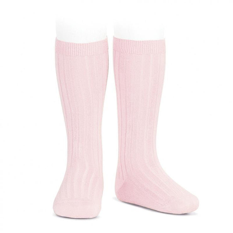 Condor Pink Wide Ribbed Knee High Socks | Millie and John
