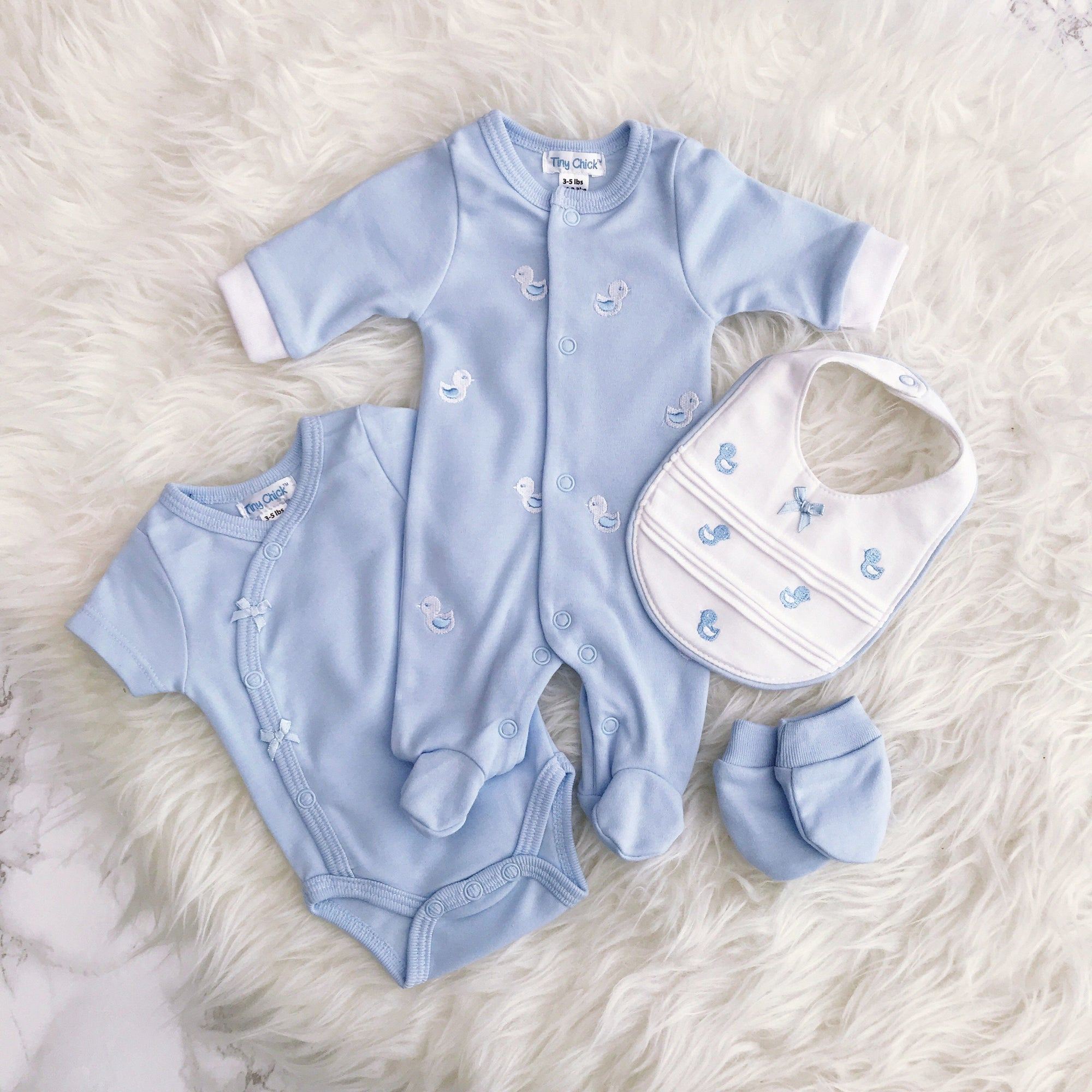 Tiny Chick Premature: Blue Embroidered Chick 4-Piece Sleepsuit Set | Millie and John