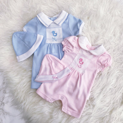 Tiny Chick Premature: Blue/Pink Embroidered Chick Romper | Millie and John