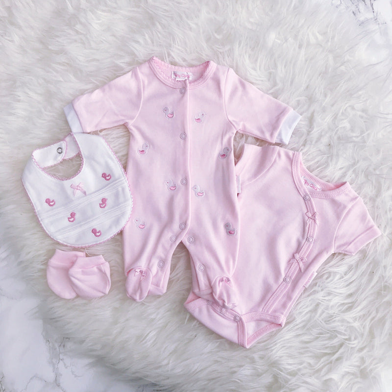 Tiny Chick Premature: Pink Embroidered Chick 4-Piece Sleepsuit Set | Millie and John