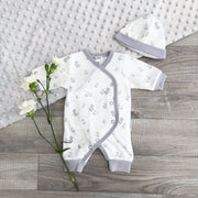 Tiny Chick PREMATURE: White & Grey Duck Print Sleepsuit | Millie and John